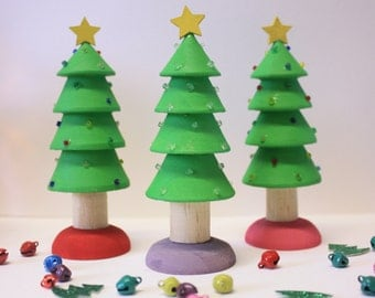 Small Pine Handpainted Christmas Tree with decorations