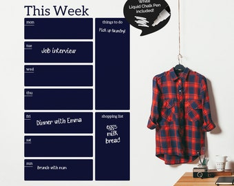 Write and Erase Weekly Calendar - Weekly Planner - Calendar Vinyl Wall Sticker - Chalk Pen Included