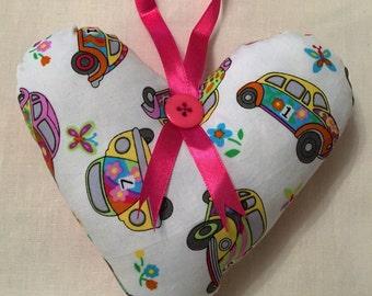 Flower Power 'Bug' VW Beetle Hanging Heart