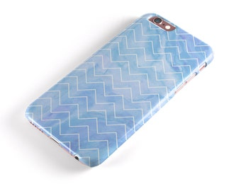Blue Watercolor Chevron -  iNK-Fuzed Hard Case for the Apple iPhone - Samsung Galaxy & More