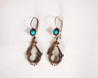 Antique Victorian gold tone turquoise glass cabochon and ornate drop earrings