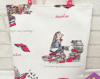 Personalised Matilda book bag, Custom Matilda tote bag, kids book bag, Roald Dahl book bag, Roald Dahl tote bag, reading book bag