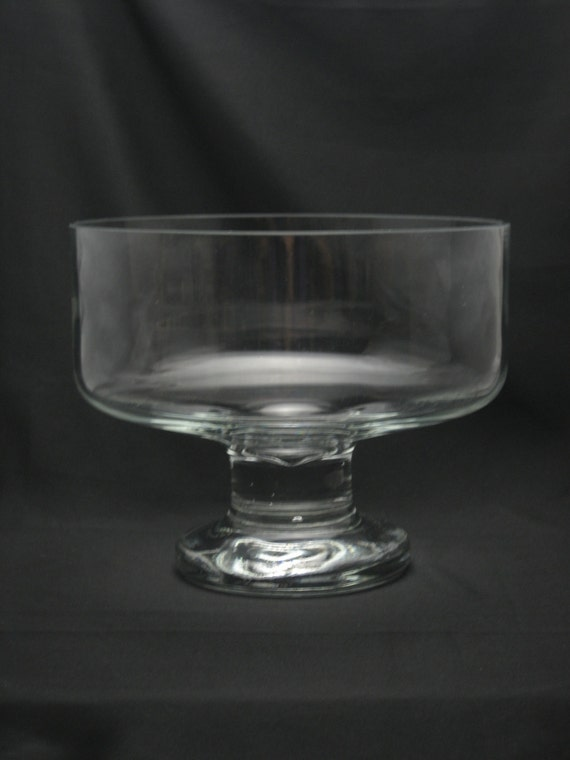 Candy Dish Centerpiece : Vintage large clear heavy glass trifle bowl footed