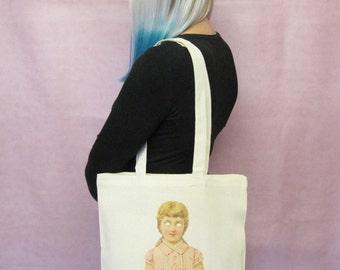 Creepy Doll Tote Bag Creepy Canvas Tote Bag Weird Macabre Goth Girl Bag American Horror Story