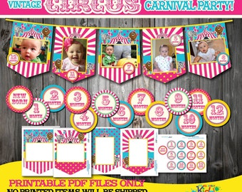 Printable Pink Circus Birthday Party Photo banner with Monthly Sticker+Newborn, First Birthday Party, 1st Birthday, Circus party Decoration