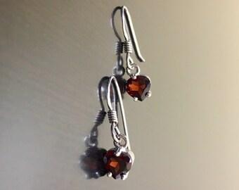 Heart Garnet Earrings - Garnet Heart Drop Earrings - Sterling Silver Garnet Dangling Earrings - Garnet Silver Earrings - Heart Earrings