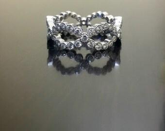 Art Deco Platinum Eternity Diamond Engagement Band - Platinum Diamond Wedding Band - Art Deco Diamond Eternity Band - Diamond Platinum Band