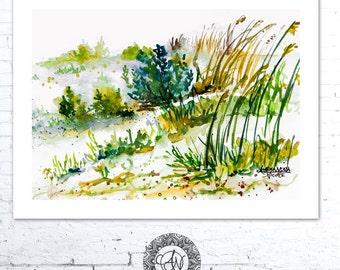 Beach Painting, Beach Watercolor Print, Seascape Art, Beach Landscape, Coastal Painting, Sea Grass Print, Seascape Print, Coastal Wall Art