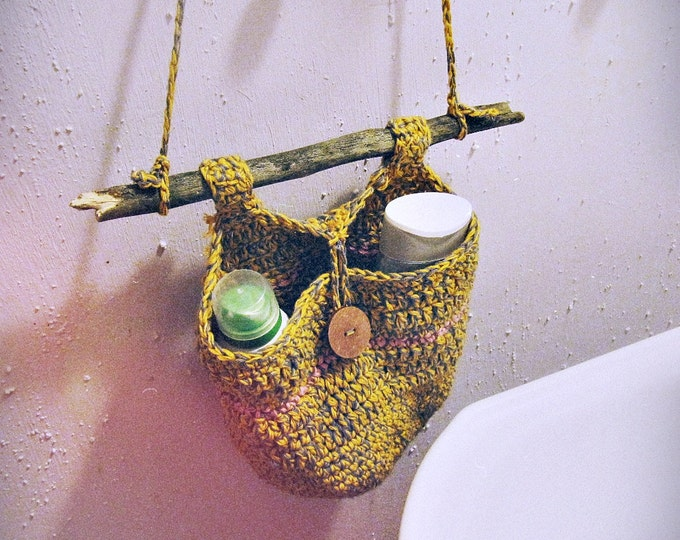 Hanging Storage Basket - Door Knob Basket - Hanging Storage Bin - Boho Bathroom Decor - Rustic Home Decor - Gypsy Hippie