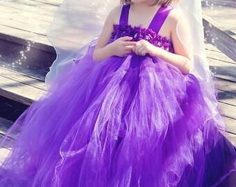 Flower girl dress - Tulle flower girl dress -Purple Dress - Tulle dress-Infant/Toddler - Pageant dress - Princess dress -Purple flower dress