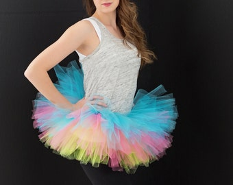Rainbow Tutu -Halloween tutu -Running Tutu -Race Tutu -Adult Tutu -Neon Run- Color Run Tutu -Marathon Tutu - 5K Tutu - Tutu - Fun Run Tutu -