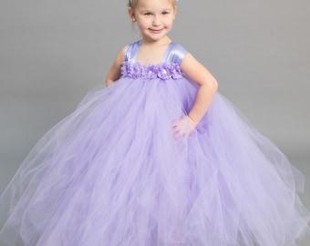 Flower girl dress - Tulle flower girl dress -Lavender Dress - Tulle dress-Infant/Toddler - Pageant dress - Princess dress - flower dress