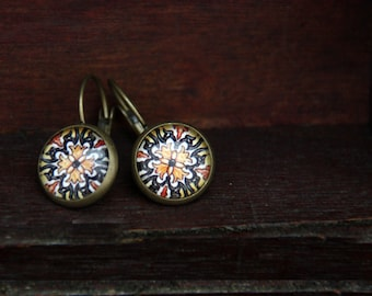 Bronze earrings, 12 mm, glass cabochon tiles