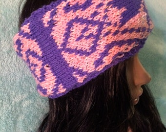 Knit headband, abstract, fair isle, pink headband, purple headband, winter earwarmer