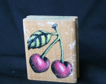 Cherries Rubber Stamp, Rubber Stampede Stamp,  Fruit Rubber Stamp, Old Fashioned Fruit Stamp, Orchard STamp, Cherry Stamp, Farm Fresh Stamps