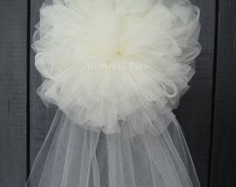 Tulle Half Pom Pew Bow, Ivory, White, Wedding Church Decorations, Party, Bridal Baby Shower, Chair Sash Bow, Custom Made
