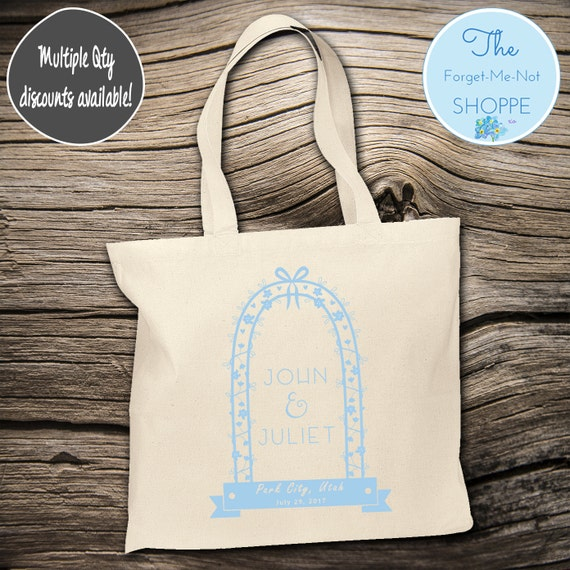 Arch Wedding Day Canvas Tote Bags, Bachelorette Totes, marriage Bachelorette, Wedding Favor Bags, Tropical, Married, Gifts, Favors