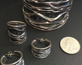 925 Sterling Silver Bracelet, Ring, Earring Ser