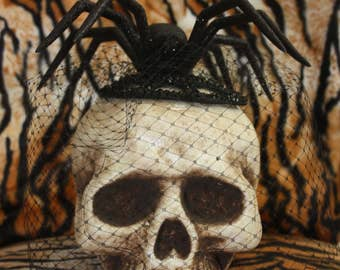 Glitter Spider on Cystal Rhinestone Web Veiled Fascinator Halloween Burlesque Pinup