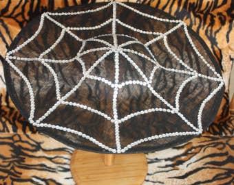 Sinamay Saucer Hat with Rhinestone Spiderweb 40s Goth Pinup Burlesque