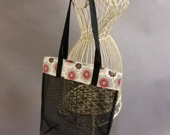Mesh Tote. Fashionable Flowers. Pink, Blue, Black and White Bag with Long Shoulder Straps. Project, Market or Beach Bag. From MDS Creative.