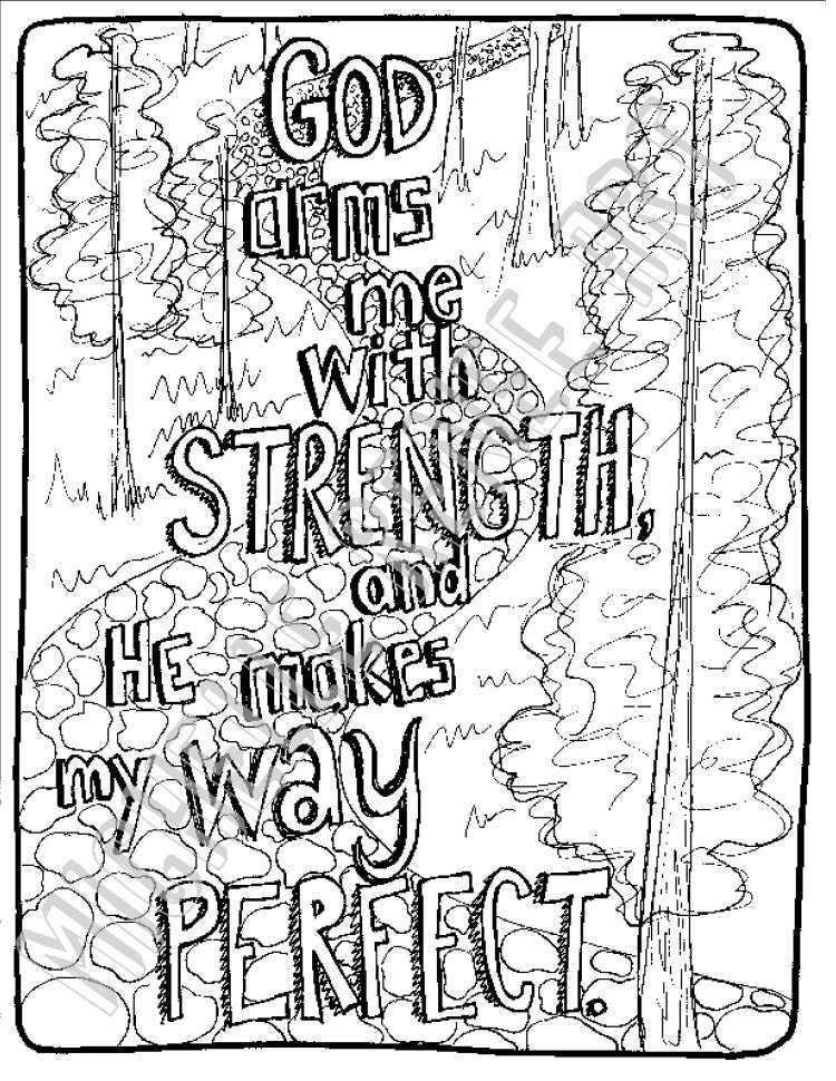 Bible Verse Coloring Page: Psalm 18.32 Digital Instant