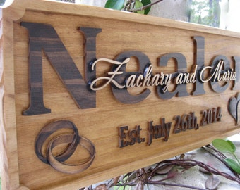 Personalized Wedding Gift Last Name Established Sign Family Name Sign Wooden Sign Personalized Wedding Ring Anniversary Gift Personalized
