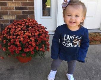Live, Love, Cowboys -- Girls Ruffle Shirt