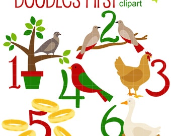 12 Days of Christmas (1-6)  Digital Clip Art for Scrapbooking Card Making Cupcake Toppers Paper Crafts