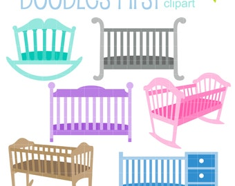 Baby Cribs and Cradles Digital Clip Art for Scrapbooking Card Making Cupcake Toppers Paper Crafts