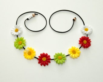 Rasta Daisy Flower Crown, Flower Headband, Rasta Headband, Rasta Clothing, Hippie Headband, Festival Headband, Bohemian Headband, EDC Crown