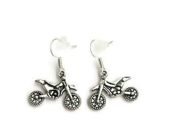 Dirt Bike Earrings - Checkered Flag Earrings - Quad Earrings - Sprocket Earrings - Motocross Earrings - Racing Earring - Motorcycle Earring