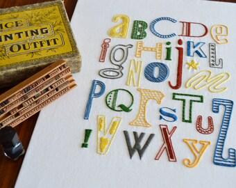 Letterpress hand embroidery pattern, alphabet, modern hand embroidery, modern embroidery PDF pattern, lettering, digital download