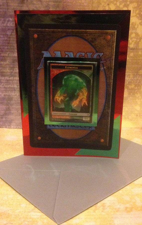 Handmade elemental token birthday card magic the gathering like this item bookmarktalkfo Image collections