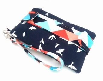 Bird Wallet, Girlfriend Gift, Womens Wallet, Navy and Coral, Bird Wristlet, Geometric Clutch, Bird Gift, Zipper Pouch