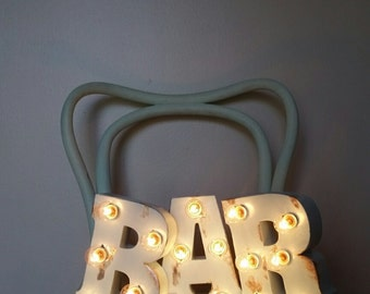 Metal BAR Distressed Aqua Light Up Letters Marquee Sign