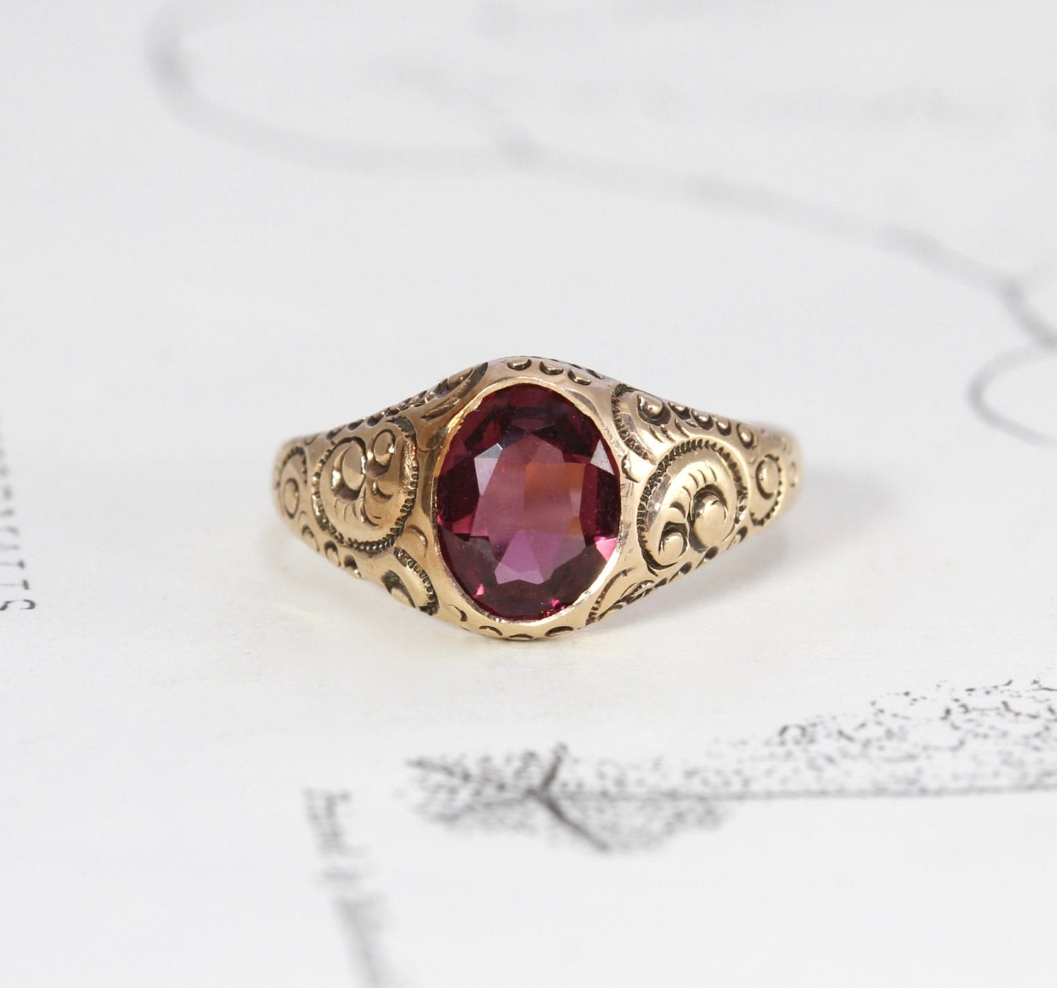 Victorian garnet gypsy ring antique 10k rose gold stacking for Garnet wedding ring meaning