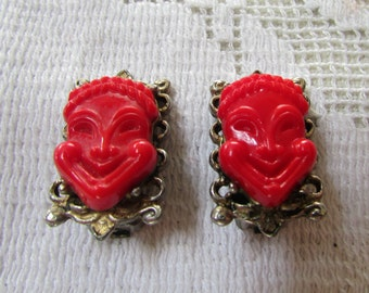 Vintage 50's red smiling faces comedy mask clip on earrings