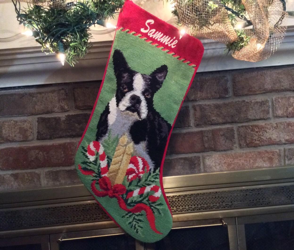 Boston terrier christmas stocking christmas stockings dog for Personalized dog christmas stocking