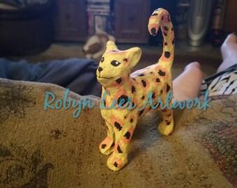 Leopard Print Hand Painted Cat Kitten Art Ornament Figure Sculpture Artwork in Yellow, Orange and Black Waterproof & Fadeproof Paint w/ CoA