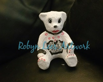Hand Painted Bondage Fetish Mature Teddy Bear Ornament Figure with Silver Chain, Black, White & Red Waterproof Fadeproof Paint with CoA
