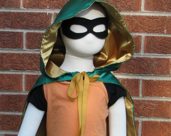 Hooded Cape, Gold and Green Satin, Loki Inspired