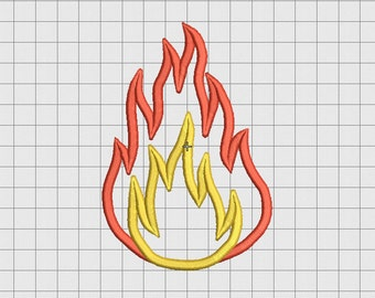"Fire Flame 2 Layer Applique Embroidery Design in 3""x3"" 4x4 5x5 and 6x6 sizes"
