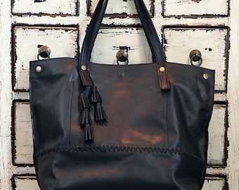 Oversized leather tote, black leather tote bag, sac bag, matte black leather bag