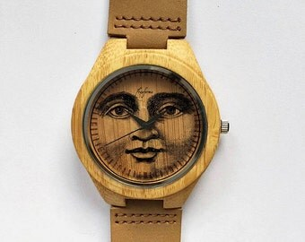 Wooden Watch, Moon Watch, Wood Watches, Mens Watch, Personalized Watch, Groomsmen Gift, Moon Jewelry, Moon Phases, Leather Watch, Freeforme