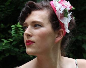 SALE Burlesque hat fascinator pin up flower hairclip Fascinator vintage flowers fascinator hairclip pink teardrop headdress cream sheer hat
