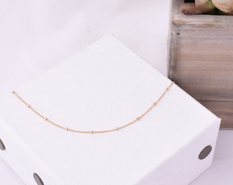 Satellite Chain Necklace / Delicate Layering Necklace / Simple Chain Necklace / Dainty Satellite Chain / Layering Necklace / Silver, Gold