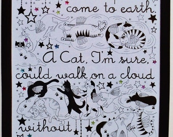 Jules Verne quote~ I believe Cats to be Spirits come to earth...' A high quality, framed A4 print of an original artwork by ©Helen Zwerdling