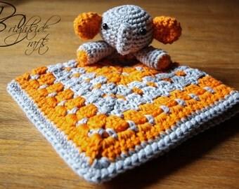 MADE TO ORDER Crochet Elephant Lovey Crochet Elephant Security Blanket Orange and Gray