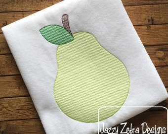 Pear Color Sketch Embroidery Design - pear sketch Embroidery Design - fruit sketch Embroidery Design